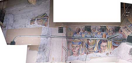 Photograph of George Sorenson's 1936 mural, San Diego Industry, uncovered during the 2004 ceiling-tile renovations. (A) is the left segment, (B) is the middle segment, and (C) is the right segment.Courtesy of Seth Mallios; photos edited by Donna Byczkiewicz.