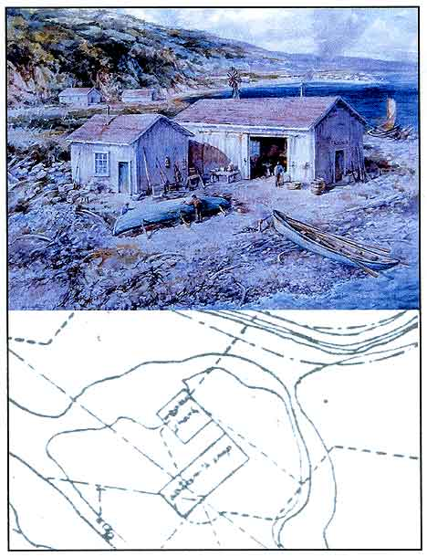 Figure 8.10 Top: Jay Wegter's watercolor interpretation of the pre-1896 whaler's shanty and blacksmith's shop. Bottom: 1896 Army Corps of Engineer's Map excerpt showing the mound of the ruins of Fort Guijarros with the whaler's shanty and blacksmith's shop buildings located on top of the mound.