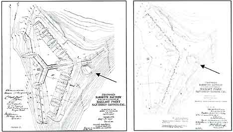 Figure 8.11 Two maps for Fort San Diego, the proposed elaborate Barbette Battery at Ballast Point, in (left) 1872 and (right) 1873. Both of these proposals were designed around the ruins of Fort Guijarros, taking advantage of the same cannon firing lines used by the Spanish engineers when they designed Fort Guijarros to protect the entrance to San Diego Bay.