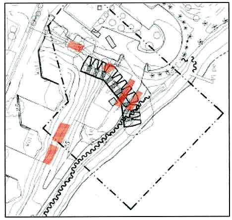 Figure 8.13 Overlay of excavation fields (red) upon composite map of proposed site boundary as theorized by Architect Milford Wayne Donaldson, FAIA. The excavation targeted the fort walls as well as areas in front of and behind the defense walls.