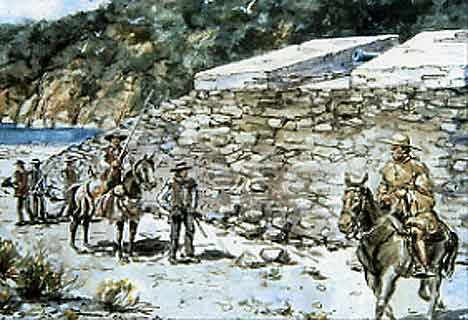 Figure 8.26 Soldiers at Fort Guijarros by Jay Wegter. 1990. This hypothetical interpretation shows how the outside of the Fort may have appeared. Note the sloping walls of the exterior of the Fort.