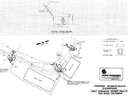 "Figure 8.28 Civil Engineer Marty Byrne prepared this design for deep test pits at the request of the Navy Civil Engineer. Once approved, the Fort Guijarros Museum Foundation had to design sufficient shoring to meet the requirements of the Navy Safety Officer. The actual location of Field VI was approximately fifty feet north of Byrne's proposal in order to avoid interfering with Navy operations. The Field V pit was more to the left once the Navy demolished Building 251 (""The Dolphin Club"")."
