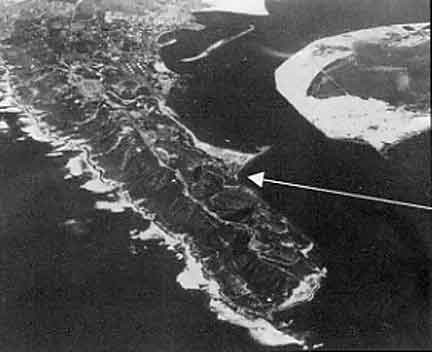 Figure 8.3 Aerial photograph of Point Loma looking north towards San Diego. North Island is located in the upper right of the picture across the harbor. Fort Guijarros Museum Foundation Collection, 90-467.