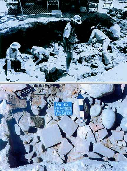 Figure 8.34 Top: Ron May stands, C. Fred Buchanan stretches across the unit, Anne Peter sits at the upper right, and two unidentified crew members worked to the left at Field I in 1987. Bottom: Typical tile rubble at Field VIII. Fort Guijarros Museum Foundation Photo Collection, P:87-2632 and P:95-3163.