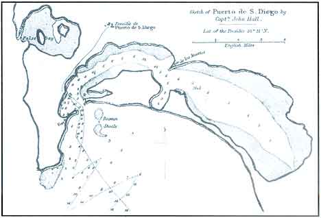 Figure 8.4 1839 map by English Captain John Hall showing San Diego and the location of the Fort and Presidio de Puerto de San Diego as well as navigation information such as channel depth. In Richard F. Pourade's The History of San Diego: The Silver Dons.