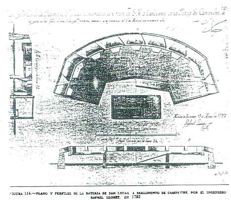Figure 8.6 Fort analogy from Joaquin Antonio Calderon Quijano showing cannon battery in Campeche, Mexico. Fort Guijarros may have had a similar appearance in 1800.