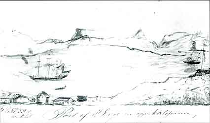 Figure 8.7 An 1843 sketch by Swedish tourist G. M. Waseurtz af Sandels of La Playa with Fort Guijarros depicted to the far right. G. M. Waseurtz af Sandels, 1945 A Soujourn in California by the King's Orphan: the Travels and Sketches of G. M. Waseurtz af Sandels, a Swedish Gentleman Who Visited California in 1842-1843. San Francisco: Grabhorn Press.