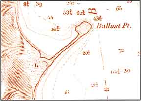 Figure 9.1 United States Coast Survey Map showing shape of (ruined) Spanish Battery, 1851. By A. M. Harrison.