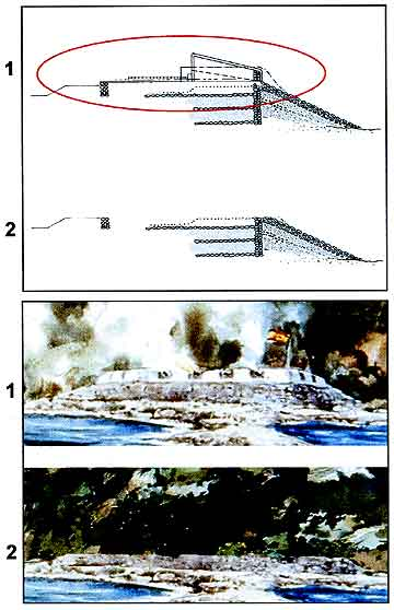 Figure 9.3 Top: 1 and 2 show fort cross-section before and after removal of the parapet walls. Bottom: These illustrations show a portion of Jay Wegter's watercolor Battle of San Diego Bay depicting (1) a hypothetical view of Fort Guijarros and (2) the fort with the removal of the upper walls.