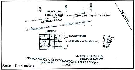 Figure 9.8 Map of Field I excavation units in 1981 south of Building 539, north of the sea wall.