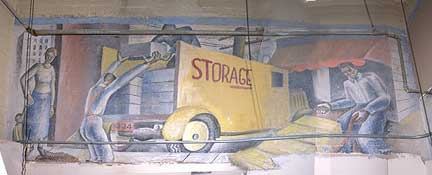 Photograph of Genevieve Burgeson Bredo's 1936 mural, NRA Packages, uncovered during the 2004 ceiling-tile renovations. Courtesy of Seth Mallios; photo edited by Donna Byczkiewicz.